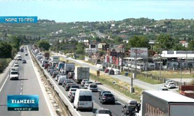 Αυξημένη το πρωί η κίνηση στο ρεύμα προς Χαλκιδική (vid)